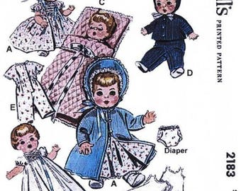 "Copy of McCall's Pattern #2183 Baby Doll Wardrobe for 8"" - 9 "" Dolls"