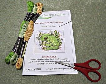 Australian fauna cross stitch chart - Green Tree Frog.  PDF instant download