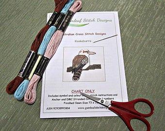 Australian fauna cross stitch chart - Kookaburra.  PDF instant download
