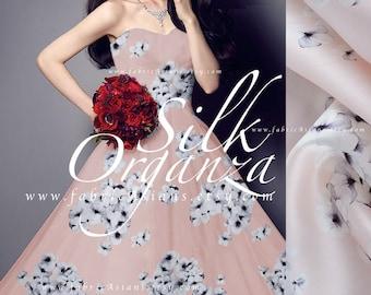 Pale Pink organza Silk buy bridal Fabric