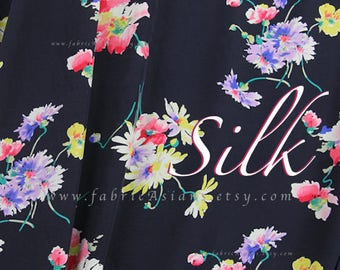 flower bouquet Black Silk Crepe by the yard