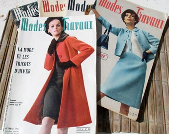 Magazines Français des années 60, la mode et tricot 1965-1967 pour l'artisanat, scrapbooking, collage - état d'usage