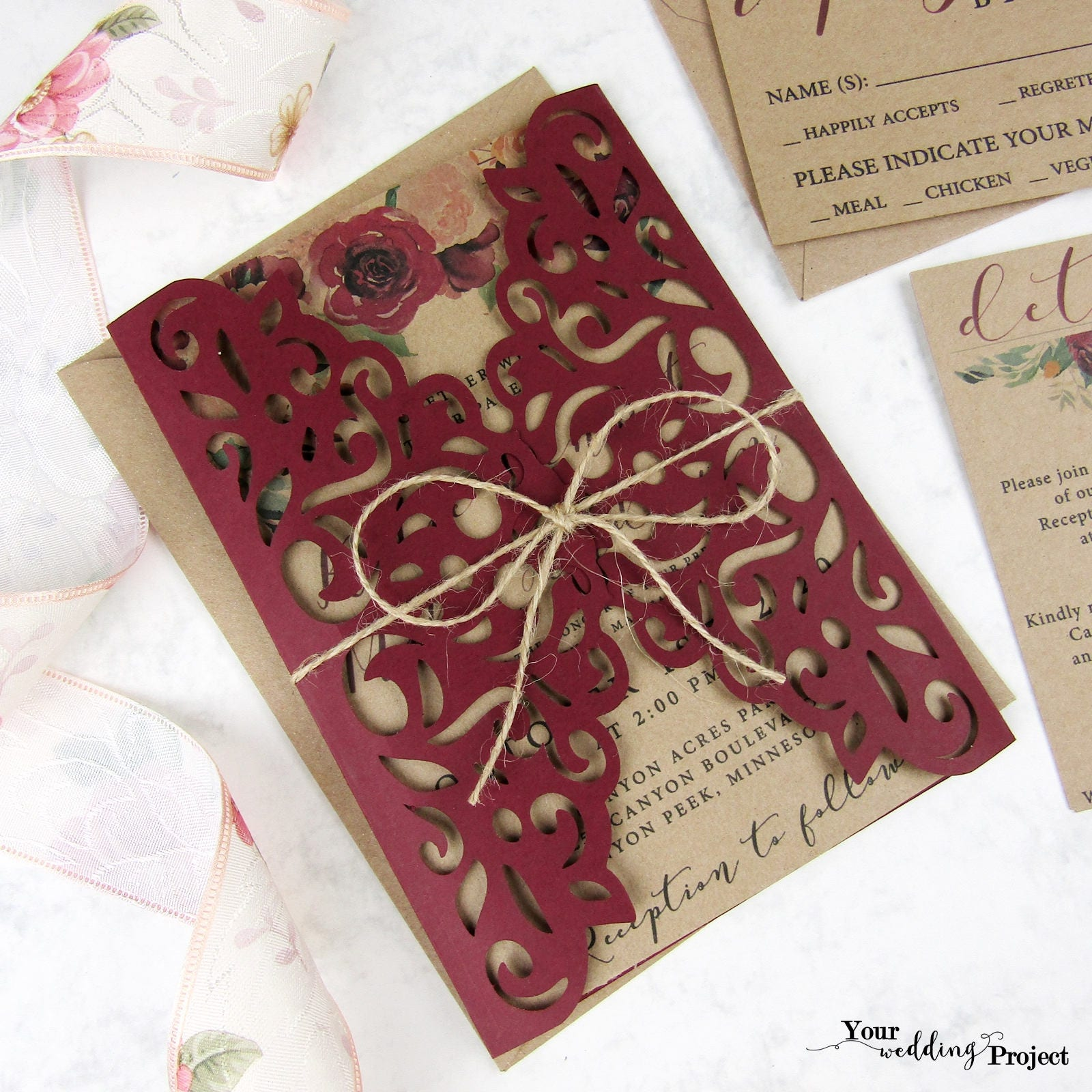 Laser Cut Wedding Invitation Set, Burgundy Gatefold Invitation ...