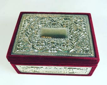 Vintage Maroon Red Velvet and Silver Plate Jewelry Box