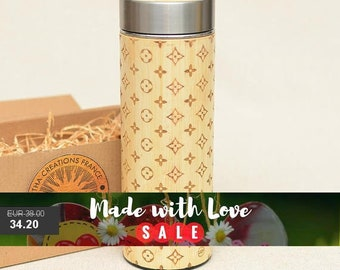 Engraved Wood Thermos LOUIS LIGHT Original Personalized Fashion Gift Wooden Flask 380 ml