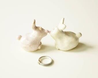 Bunny Wedding Cake Topper, Ceramic Cake Topper, Bride and Groom Wedding Cake Topper, Cake Topper by Her Moments