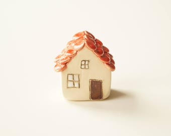 Miniature Ceramic House, Little House, Love House, Little Rustic House, Ceramics and Pottery, Ceramic by Her Moments
