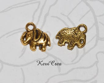 20 x charms charms small elephant gold tone