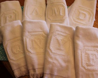 Embossed Initial Fingertip Terry Towels