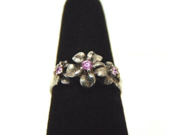 Womens Vintage Estate Sterling Silver Flower Ring w/ Pink Stones 2.8g E3199