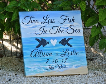 Two Less Fish In The Sea Signage, Beach Wedding Decor Name Sign, Wedding Welcome sign, tropical decor for wedding
