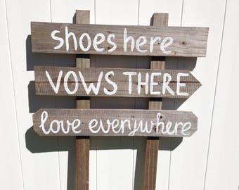 Shoes Here Love Everywhere Rustic Beach Wedding Sign, Nautical Wedding Beach Decor