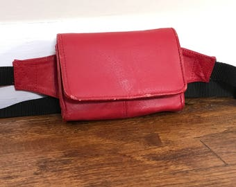 Vtg Fanny Pack Red Leather Small
