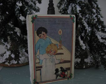 Christmas Decor Shelf Sitter, Vintage Holiday Postcard on Reclaimed Block of Old Porch Wood, Made by Me