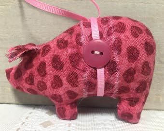 Valentine's Day gifts - handmade pig ornaments - pink hearts - pink pigs - gifts for her - stocking stuffers - pig lovers gift - novelty pig