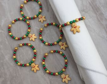 Gingerbread man Christmas napkin rings, serviette rings, beaded napkin rings, napkin rings, table ware, dinner party, dining room, christmas