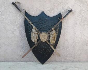 Coat of Arms Shield Sword Metal Art Sculpture