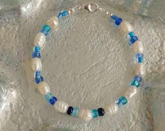 Freshwater Pearl Glass 925 Sterling Silver Beaded Bracelet