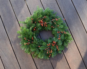 Fresh Maine Balsam and Winterberry Wreath