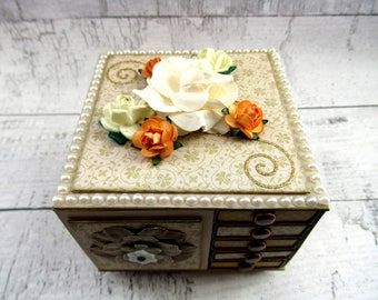Customizable Floral Mother's Day Gift Miniature Chest of Drawers Jewelry Storage Earring Caddy