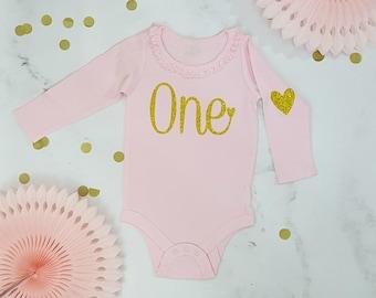 One Girls Birthday Long Sleeve Bodysuit (Gold Glitter), All Ages, 2 styles Glitter Birthday Shirt