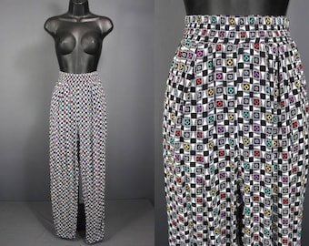 90's Pants    Late 80's Early 90's Rayon Geo Print Pants
