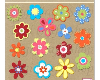 CIJ Digital Flowers Clipart. Assortment of 14 colorful flowers. Instant Download