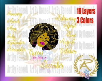 Queens are Born in, All Year, 12 Months (SVG, DXF, EPS, Studio3)