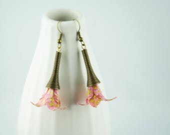 Origami paper lilies, pink and gold earrings