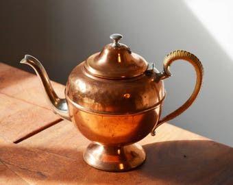Vintage Flemish Copper Teapot, Wicker Handle and Silver-Plated Spout and Handle. Rustic Kitchen, made in Canada.