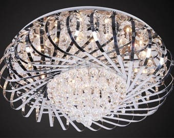 Modern and inter. Ceiling chandelier made of glass in chrome DLLa0077
