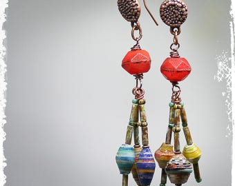Colorful Tribal Earrings, Boho Cluster Earrings, Multicolor Dangle Earrings,  Multicolor Paper Bead Earrings, OOAK One of a Kind Jewelry