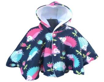 Car Seat Poncho - Car Poncho - Hedgehog Poncho - Girls Poncho - Infant Poncho - Baby Poncho - Toddler Poncho - Fleece Poncho - Winter Poncho