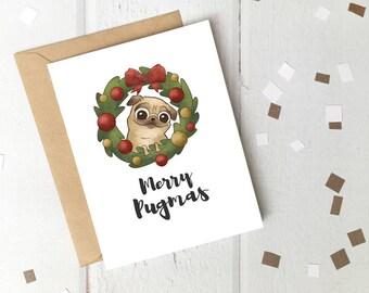 Merry Pugmas Printable Christmas Card