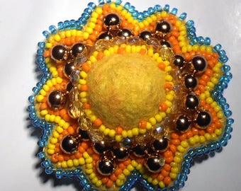 Round Sun embroidered brooch with pearls and seed beads with felted wool cabochon
