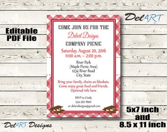 Company Picnic Invitation, Editable PDF File, Instant Download, 5x7 inch, Two on 1 5x7 & 8.5 x 11 inch files, DIY Printing