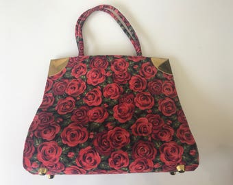 Vintage 60s Rose Pattern Corduroy and Brass Purse