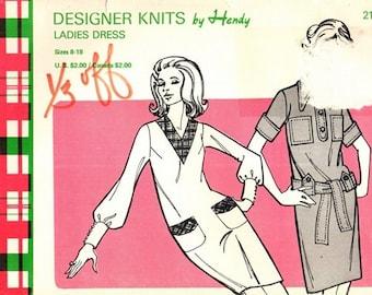 "Designer Knits by Hendy 217 Dandy Designer Hipster Knit ""Shirt"" Dress / 1960's SZ8-18 UNCUT"