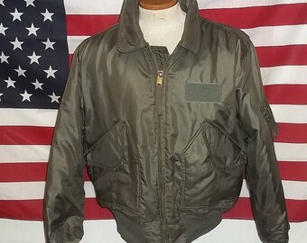 Vintage USAF Air Force Military CWU 45/P flyer pilot jacket hi temp resist Nomex fabric boyfriend M/L 40-42 laundered  readily wearable