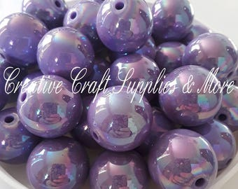 Shiny purple solid 20mm chunky beads- DIY bubblegum necklace kit- DIY chunky necklace kit- chunky beads- solid color beads-valentines-pastel