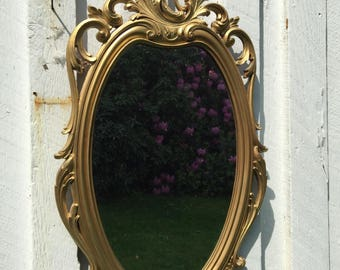 Vintage Syroco Gold Fancy Wall Mirror 1960s