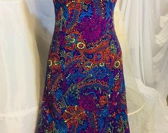 True Vintage 1960-70s Dress. Vintage Psychedelic Dress Vintage Maxi Dress. Mid Century Modern Retro dress