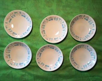 Vintage Fire king blue heaven bowls 6 pieces