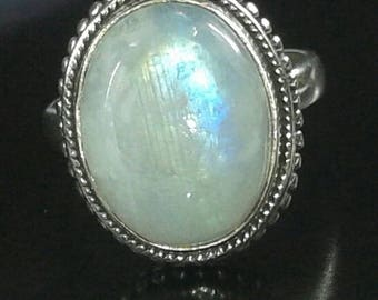 10 ct Sterling silver 925 rainbow moonstone