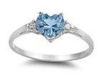 Elegant woman heart shape 1.85ct aquamarine 925 silver ring size 7