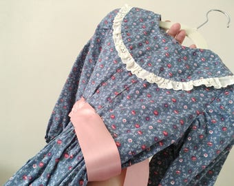 Blue Floral Prairie Dress - Size 3t estimated