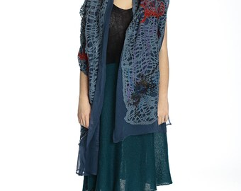 Special price. Beautiful blue long silk shawl, perfect for gift.