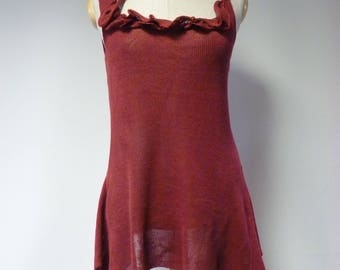 Special price. Burgundy linen top, L size.