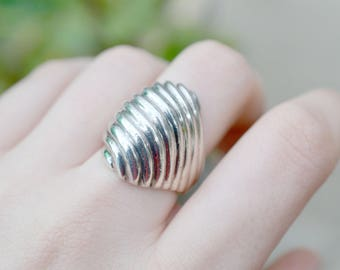 Heavy Sterling Silver Taxco Ribbed Dome Ring, Sterling Taxco Ring, Taxco Jewelry, Ribbed Sterling Ring, Sterling Dome Ring, Taxco Ring