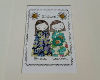 Personalised Portrait / Sisters Portrait / Friends Portrait / Couples Portraits / Personalised  Embroidery / Family Portraits by Justsosara